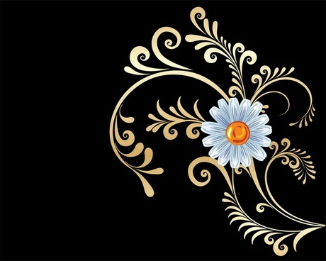 gold flowers background vector