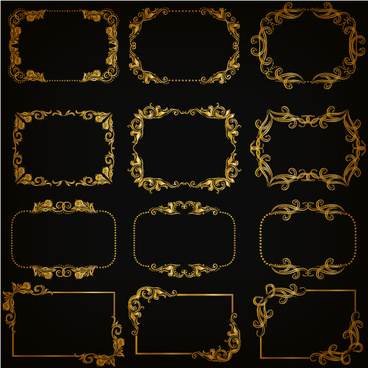 gold frame shiny vector set