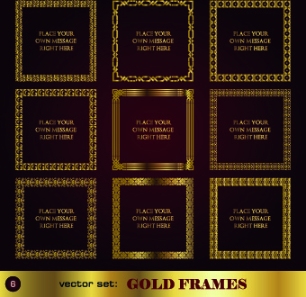 gold frame vector set