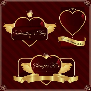 gold heartshaped vector label