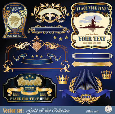 gold label with retro style vector set