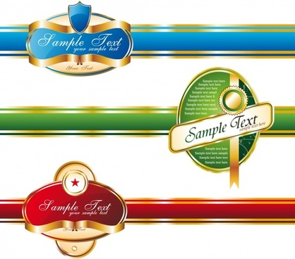 ribbon label template shiny colored modern design