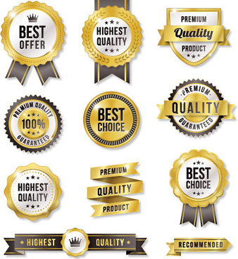 gold labels with gray ribbon vector