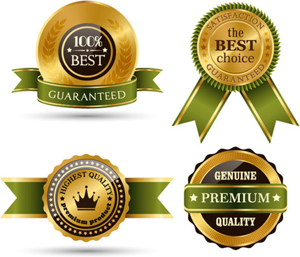 gold labels with green ribbon vector