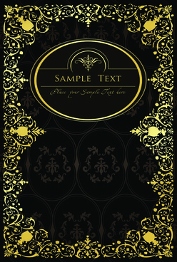 gold lace frame vector set