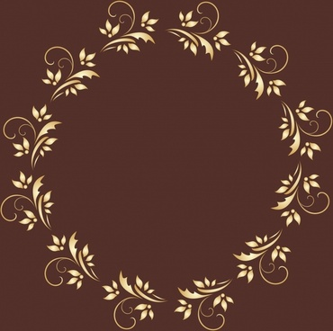 flowers wreath frame classical repeating symmetric design