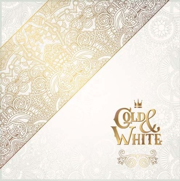 gold lace with white ornaments background vector