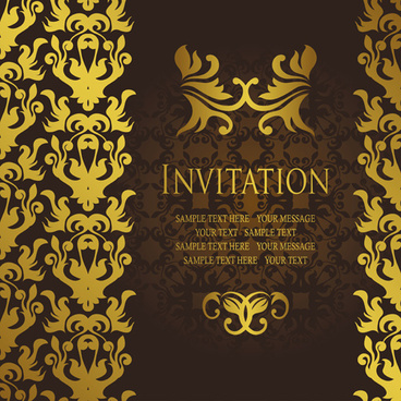 Marvelous Gold Luxury Invitation Card Template Vector