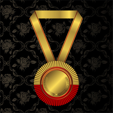 gold medal on rose background