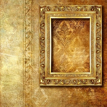 gold ornate frames and pattern wallpaper background picture
