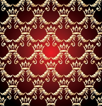 royal pattern golden crown sketch symmetric seamless repeating
