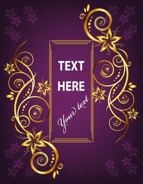 decorative banner background elegant symmetric curves violet decor
