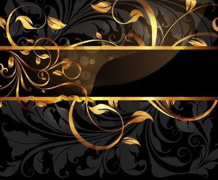 luxury pattern sparkling golden curved leaves dark design