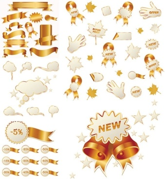 Gold ribbon and christmas icon vector sales