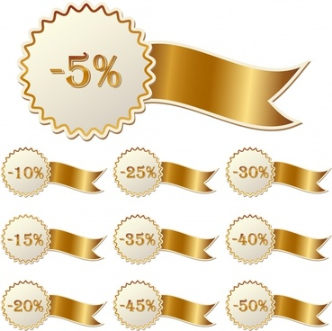 gold ribbon and christmas sales icon vector
