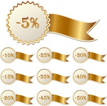 discount sticker template modern serrated shaped shiny ribbon