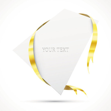 gold ribbon invitation card vector