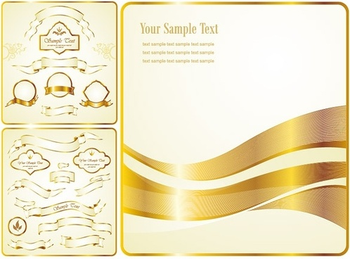 gold ribbon label vector