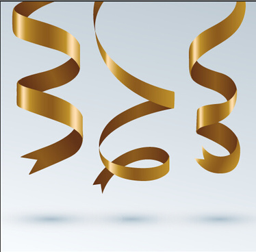 gold ribbon paper vector