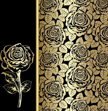 rose decor element dark classical handdrawn sketch