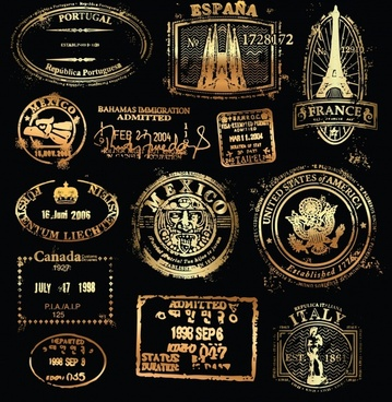 nations stamps collection dark retro golden black shapes