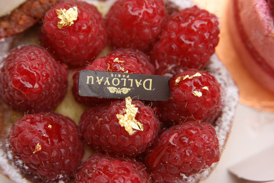 gold touched raspberries