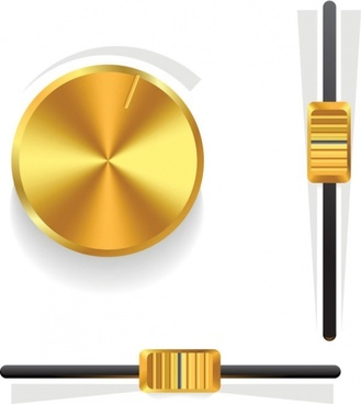 gold volume knob 03 vector