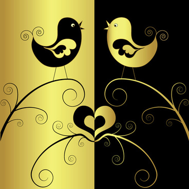 gold with black birds art background vector