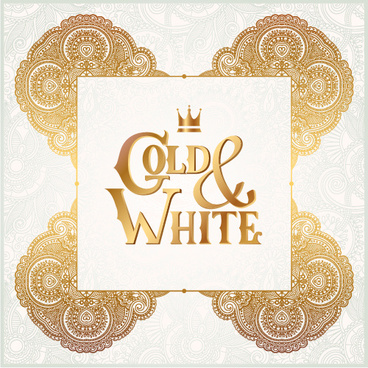 gold with white floral ornaments background vector illustration set