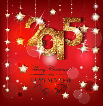 golden15 and shiny red new year background