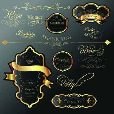 golden and black luxury labels design vector set