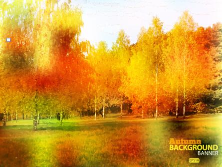 golden autumn scenery vector background art