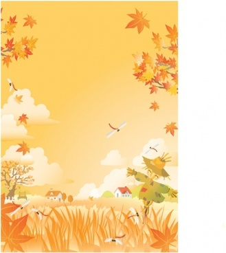 autumn painting leaves dummy field icons orange decor