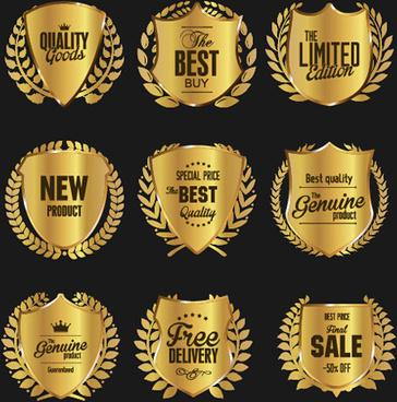 golden badge with laurel wreaths vector