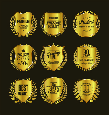 golden badge with laurel wreaths vector