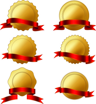 golden badge with red ribbon vector