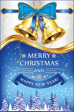 golden bell christmas with new year blue bow background