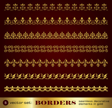 golden border and corner decorative elements vector