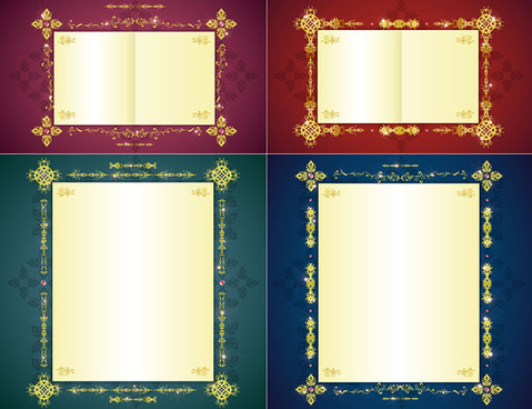 golden border frame 6 vector