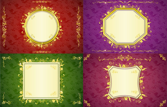 golden border frame 7 vector