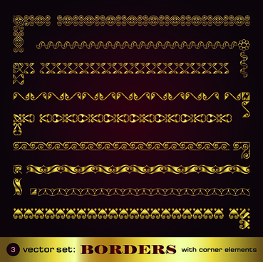 golden borders with corners elements vector graphic