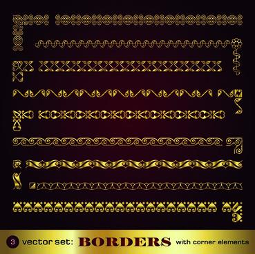 Golden borders with corners elements vector graphic