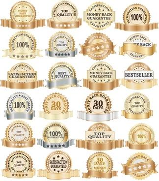 golden bottle label collection 02 vector