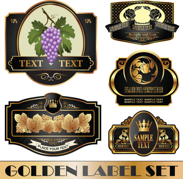 golden bottle of wine labels vector