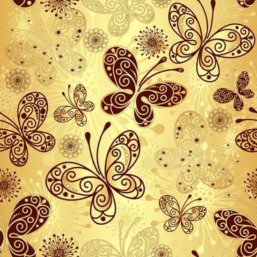 golden butterflies vector seamless pattern