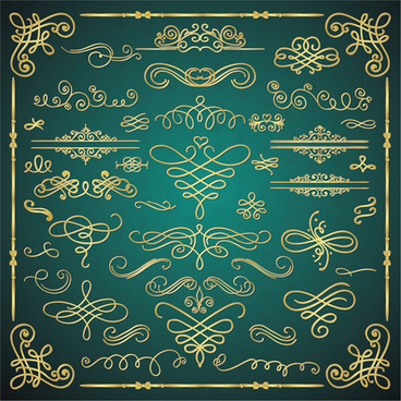 golden calligraphic decor with frame and border vector