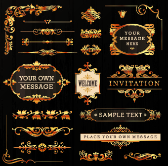 golden calligraphic ornaments with labels vector