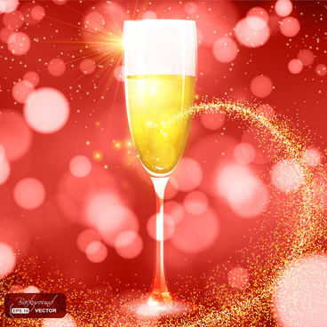 golden champagne cup on red light background
