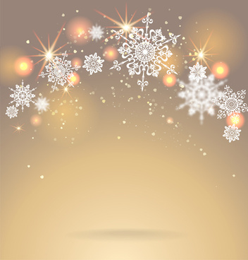 golden christmas background with snowflake vecror