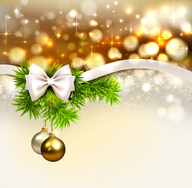 golden christmas ball and ribbon bow vector